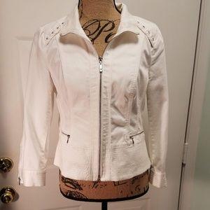 White House Black Market Zip up jean jacket